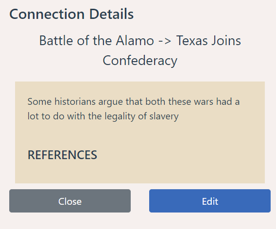 Connection Details -- lists the relationship between two events