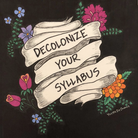 "Logo that reads ""Decolonize your Syllabus"""